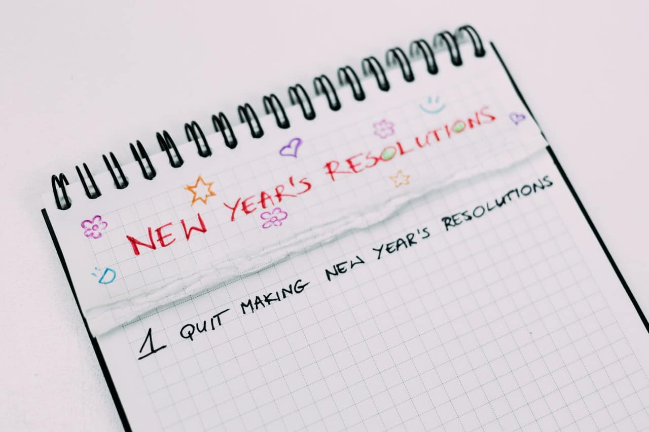notebook with resolutions list